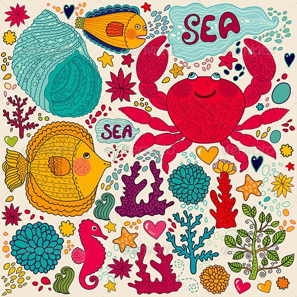 Funny vector illustration with fish and crab. - Patterns Decorative