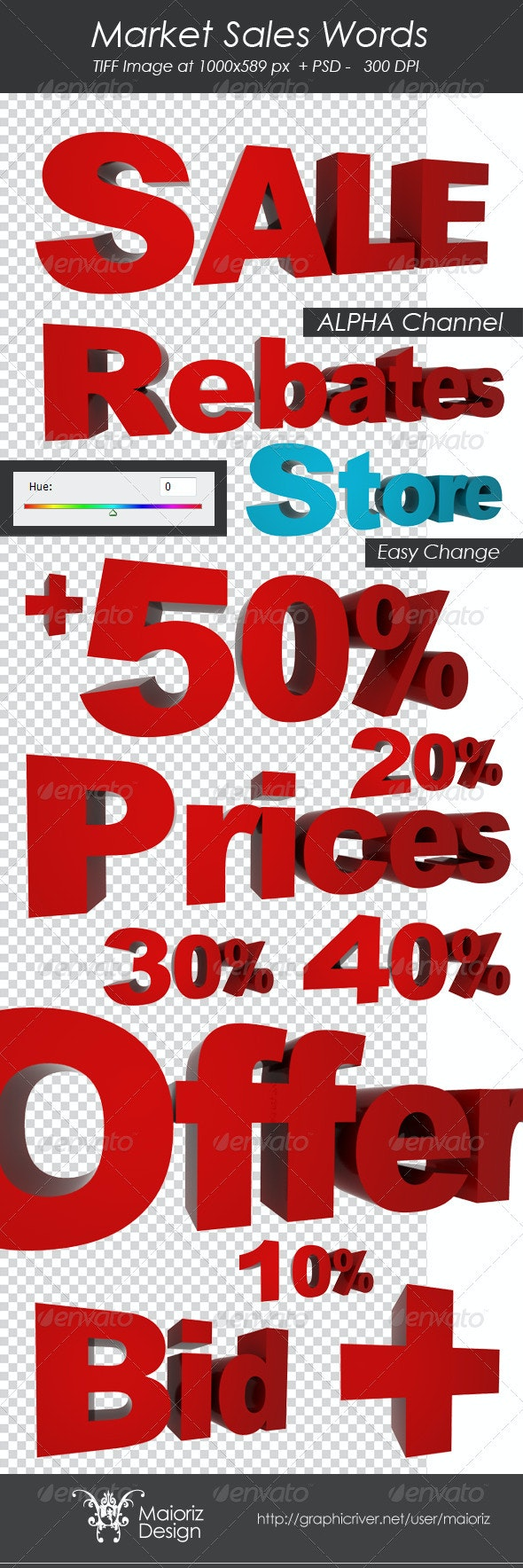 Market Sales - Text 3D Renders