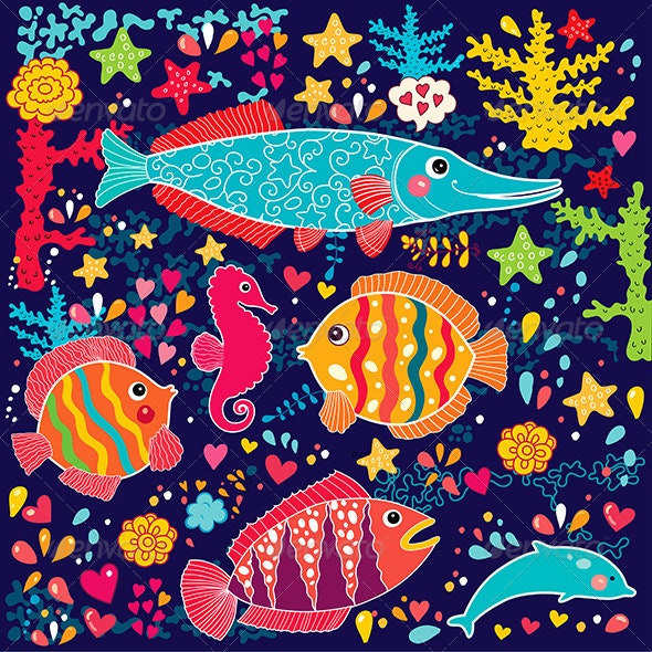 Funny vector illustration with fish. - Patterns Decorative