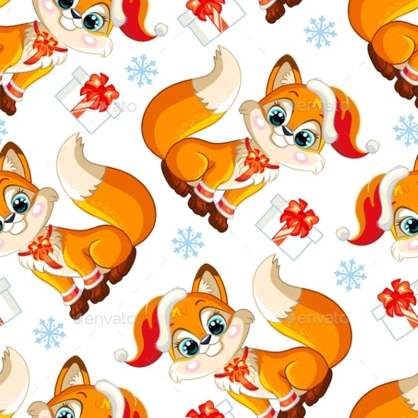 Vector Seamless Pattern with Baby Christmas Fox