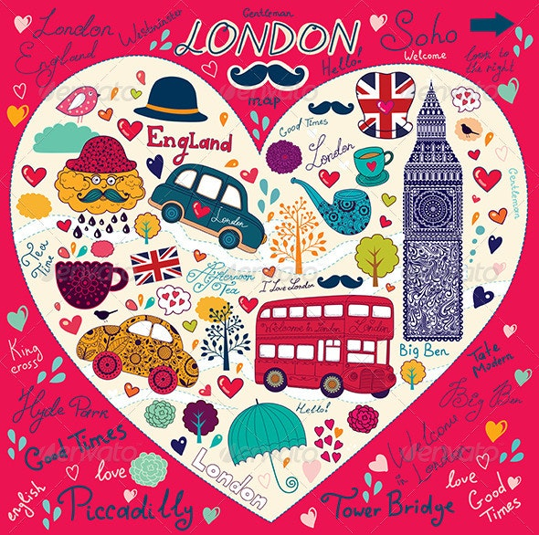 Vector illustration with London symbols - Travel Conceptual