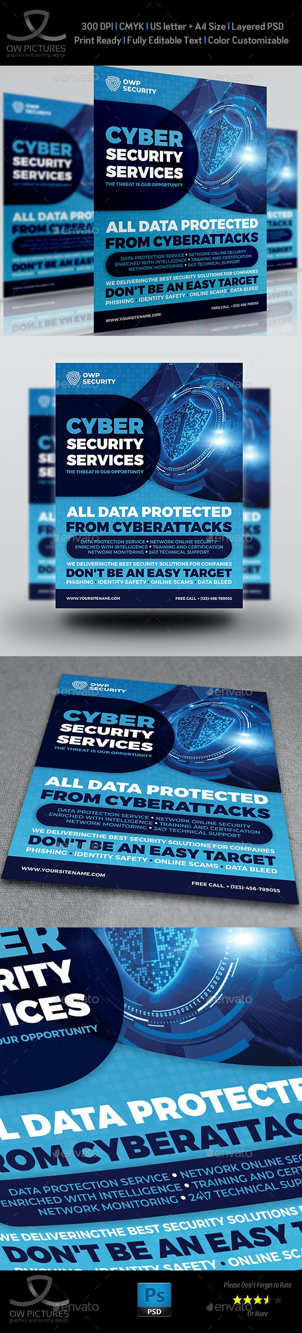 Cyber Security Services Flyer Template - Flyers Print Templates