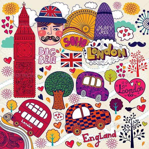 Vector illustration with London symbols - Patterns Decorative