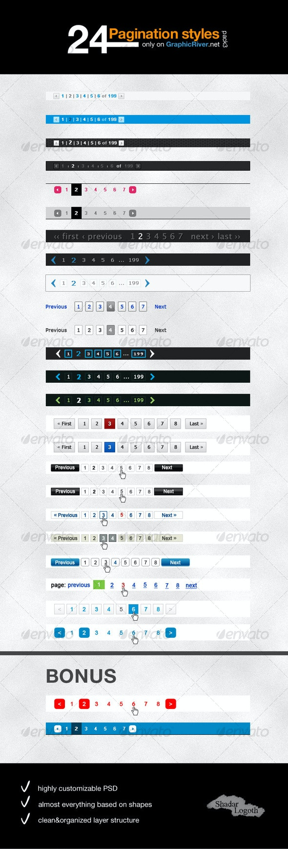 24 Simple Pagination Styles - Pack 3 - Web Elements
