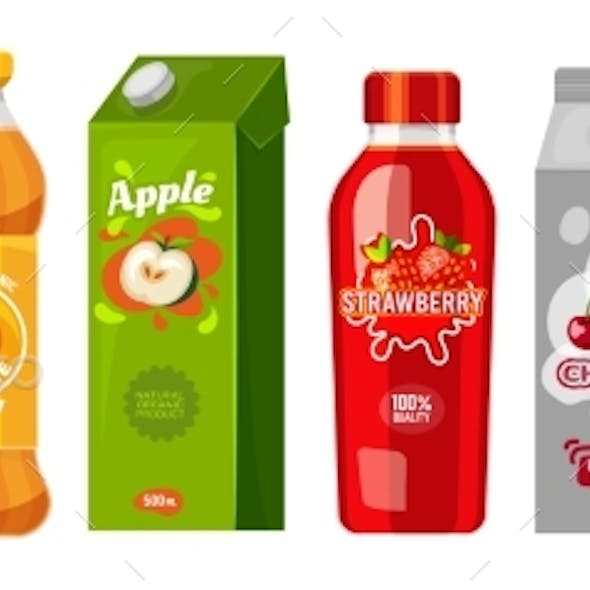 Juice Packages in Carton Boxes and Plastic Bottles