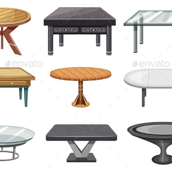 Tables Furniture of Interior of Wood or Glass
