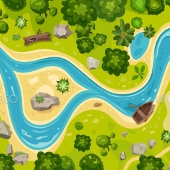 River Top View Landscape Above Forest Aerial Map