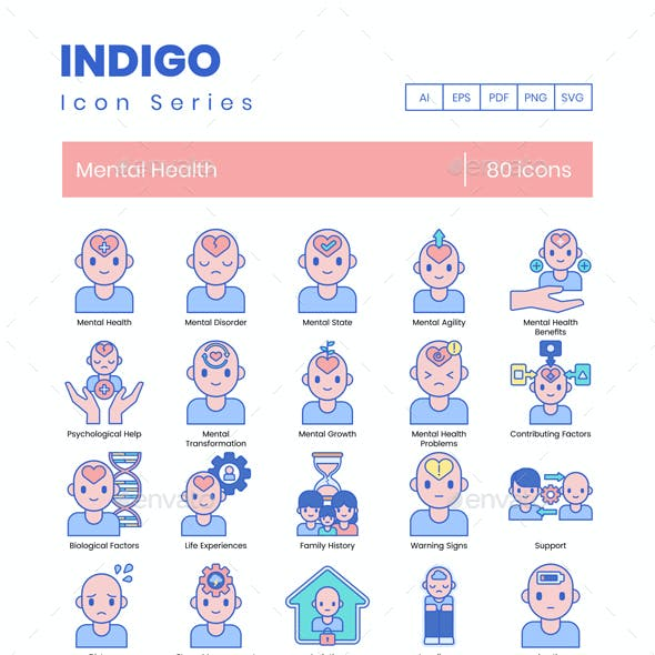 80 Mental Health Icons | Indigo Series