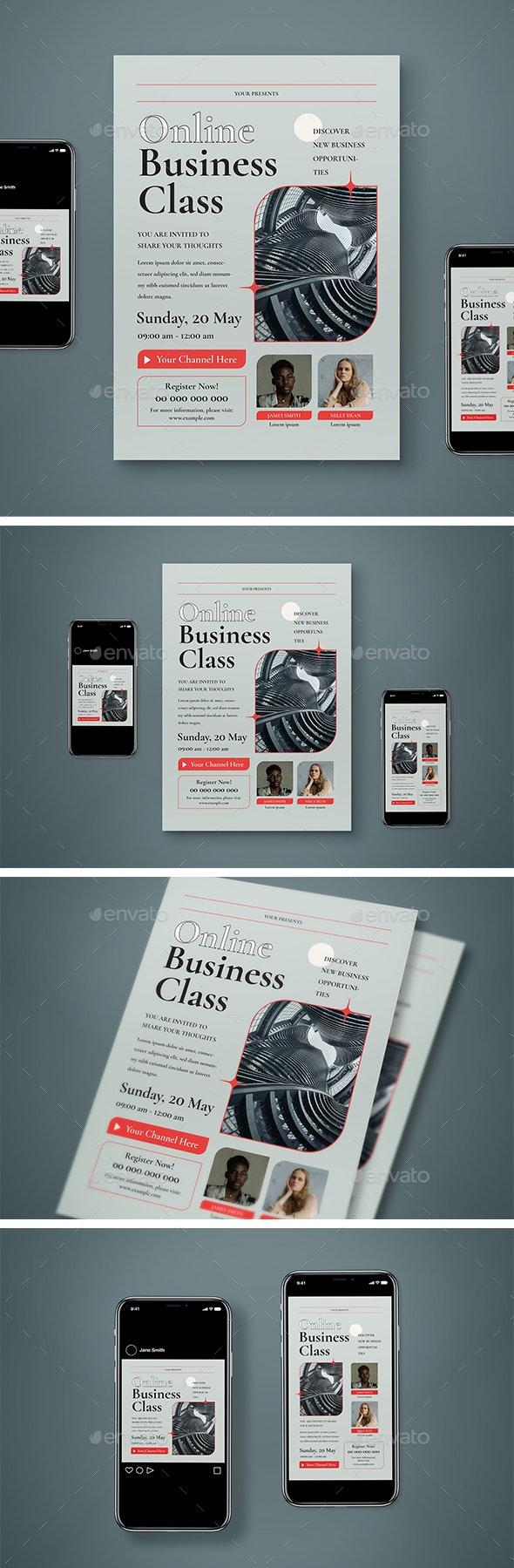 Online Business Class Flyer Set - Flyers Print Templates