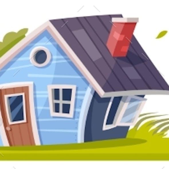 Hurricane or Storm Wind Typhoon Destroying House