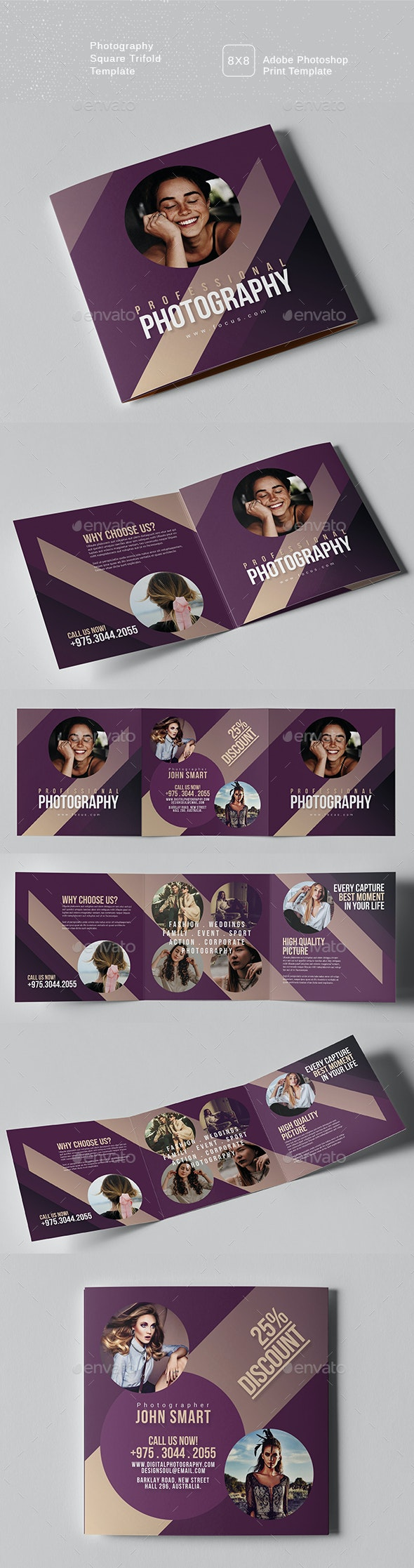 Photography Square Trifold Brochure - Brochures Print Templates
