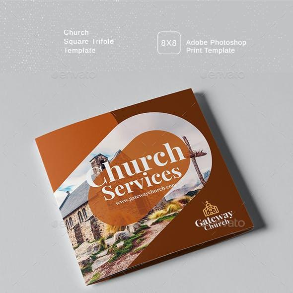 Church Service Square Trifold Brochure