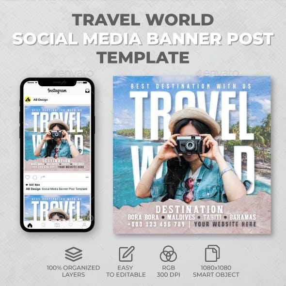 Travel World Social Media Banner Post Template