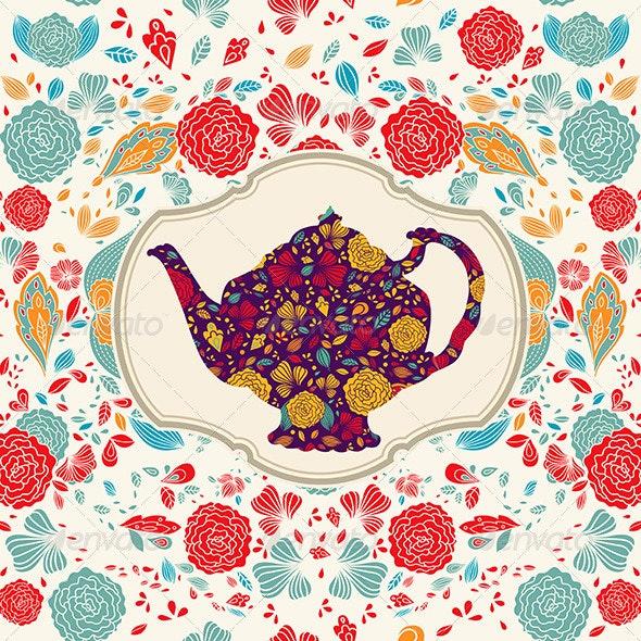 Vector illustration with tea pot - Patterns Decorative