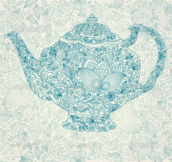 Vector illustration with tea pot - Backgrounds Decorative
