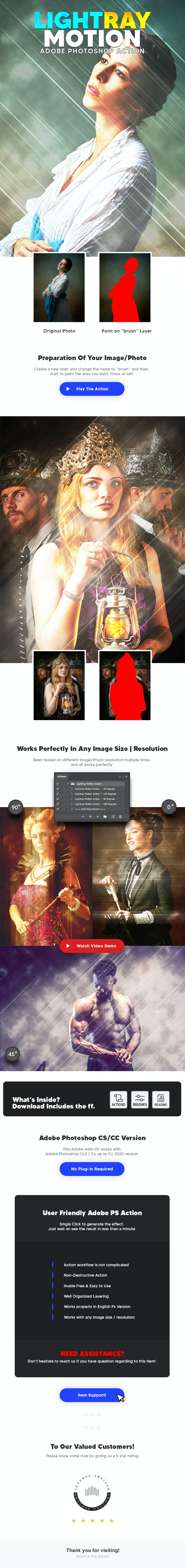 Light Ray Motion Action - Photo Effects Actions