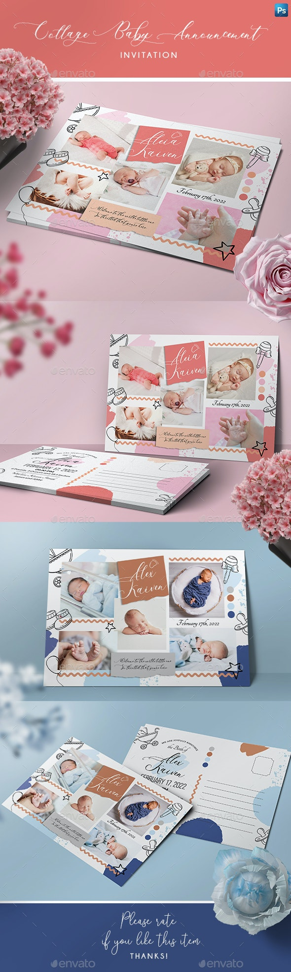 Collage Baby Announcement Card - Family Cards & Invites