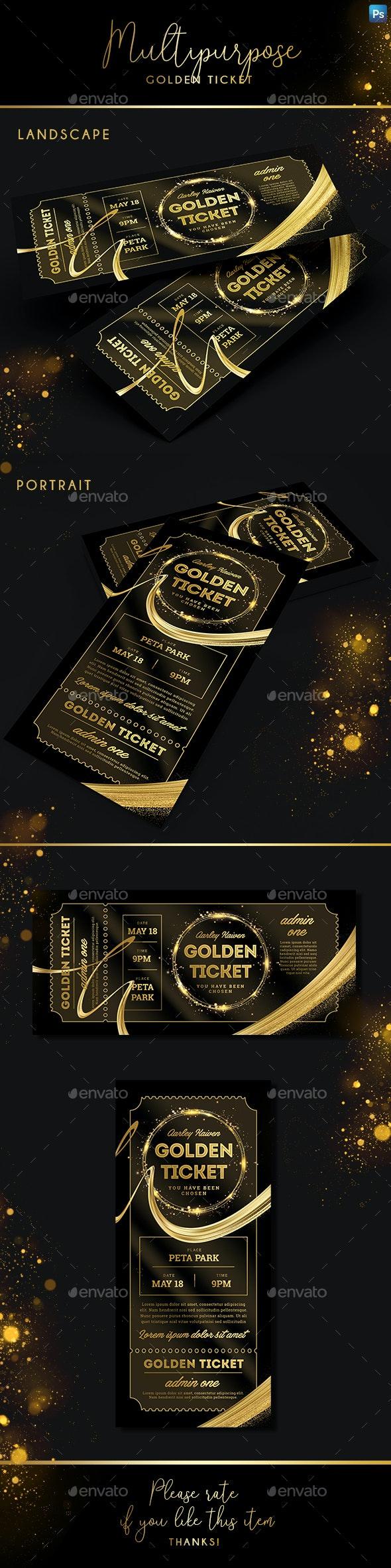 Multipurpose Golden Ticket - Invitations Cards & Invites