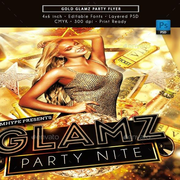Gold Glamz Party Nite Flyer