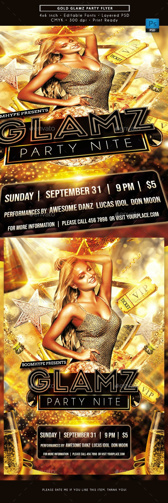 Gold Glamz Party Nite Flyer - Clubs & Parties Events