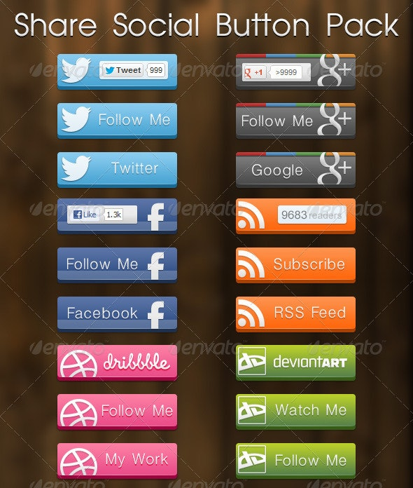 Share Social Button Pack - Buttons Web Elements