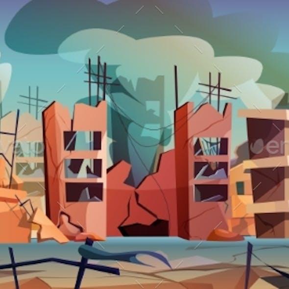 Destroyed City After War or Natural Disaster