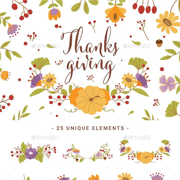 Thanksgiving Floral Clipart