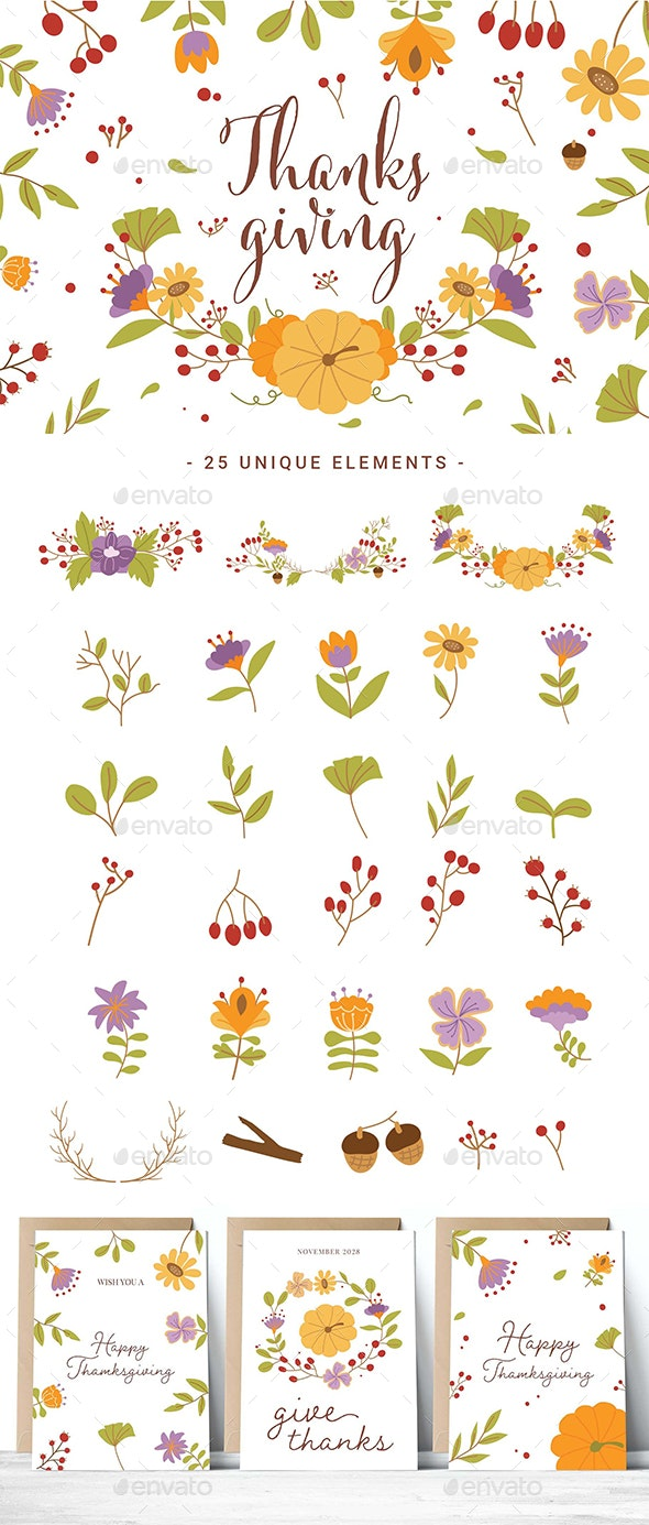 Thanksgiving Floral Clipart - Objects Illustrations