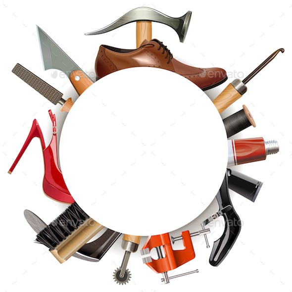 Vector Round Empty Frame with Shoemaker Tools