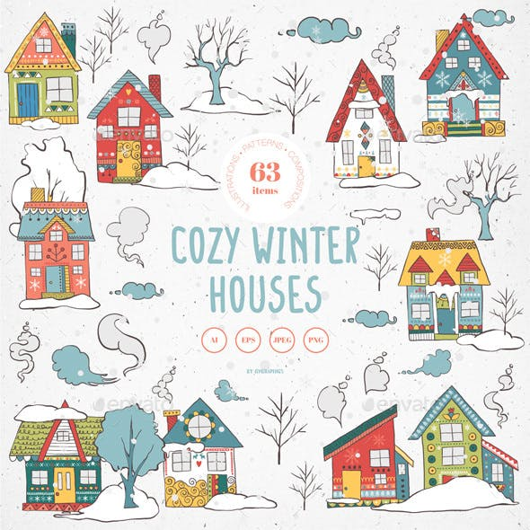 Cozy Winter Houses Vector Illustrations