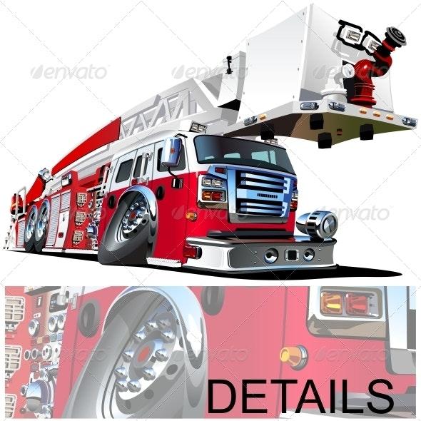 Vector Cartoon Fire Truck - Man-made Objects Objects