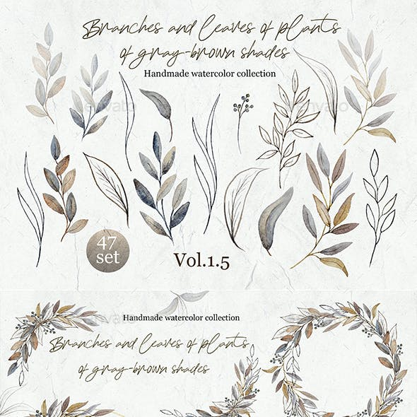Set of elements from the collection of watercolor Branches and leaves of plants volume 5