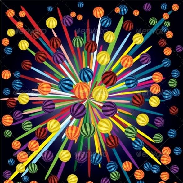 Colorful balls circle
