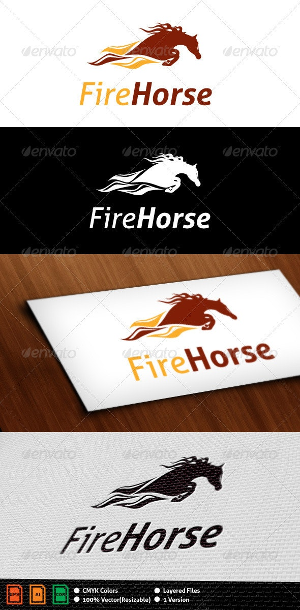 Fire Horse Logo Template - Animals Logo Templates