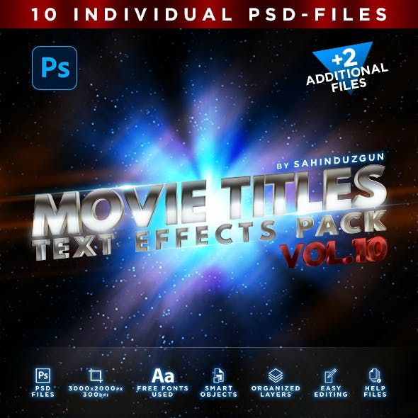 MOVIE TITLES - Vol.10 | Text-Effects/Mockups | Template-Pack