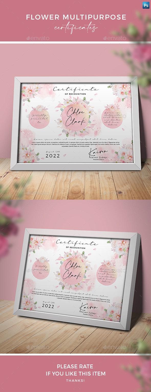 Flower Multipurpose Certificates - Certificates Stationery