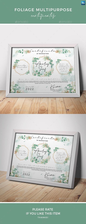 Foliage Multipurpose Certificates - Certificates Stationery