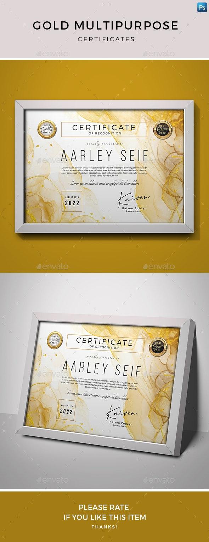 Gold Multipurpose Certificates - Certificates Stationery