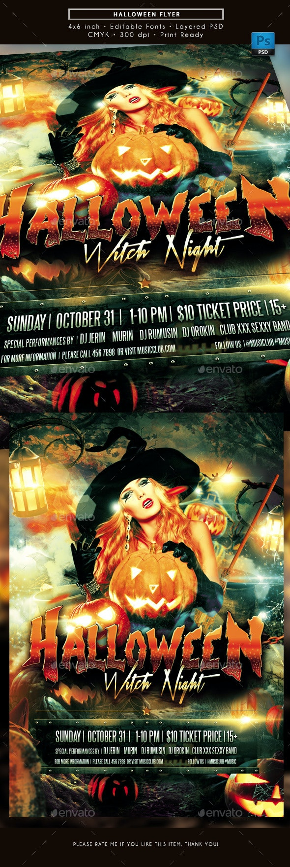 Halloween Witch Night Flyer - Holidays Events