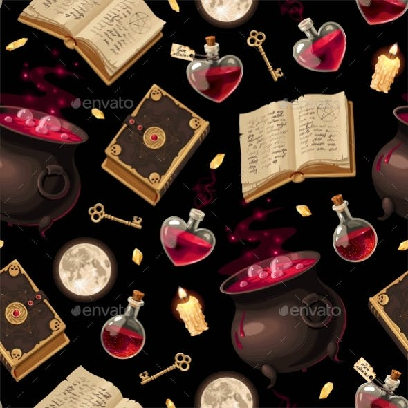 Vector Seamless Pattern with Cauldrons and Books