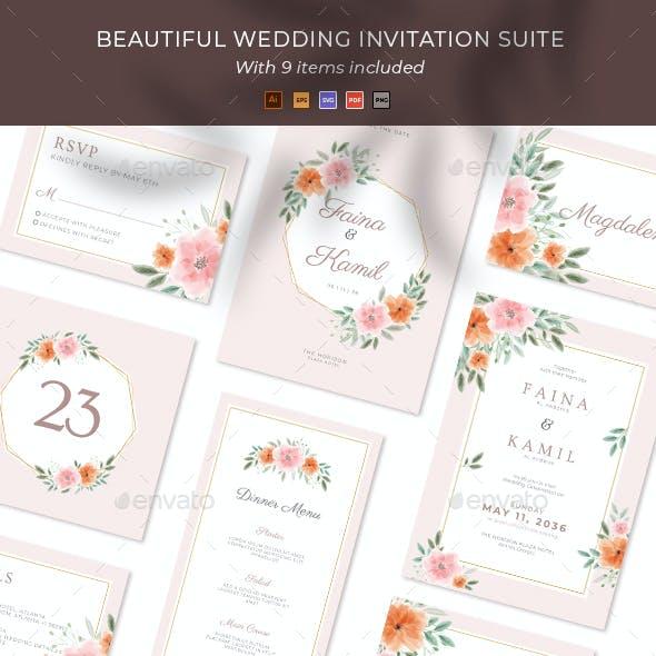Beautiful Floral Wedding invitation Suite