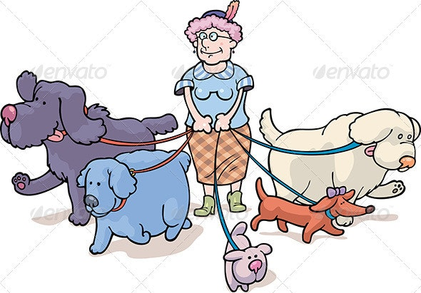 Walking with a Dogs - Animals Characters