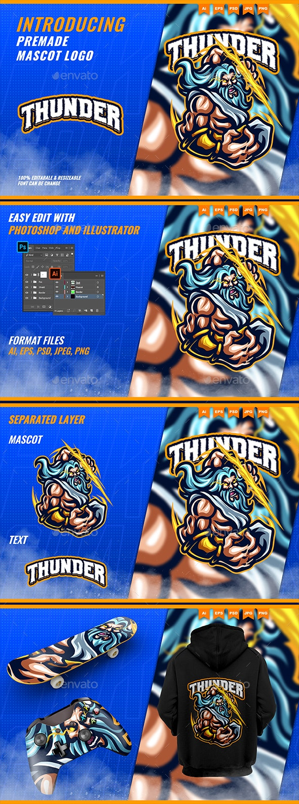 Zeus Thunder God - Mascot Esport Logo Template - Humans Logo Templates