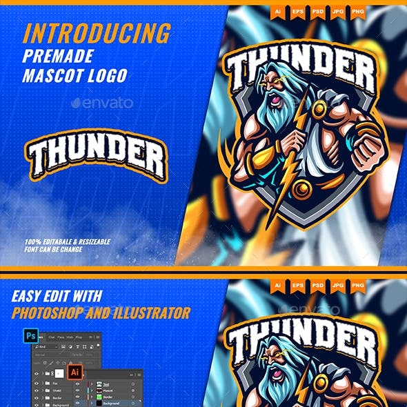 Zeus Thunder God - Mascot Esport Logo Template
