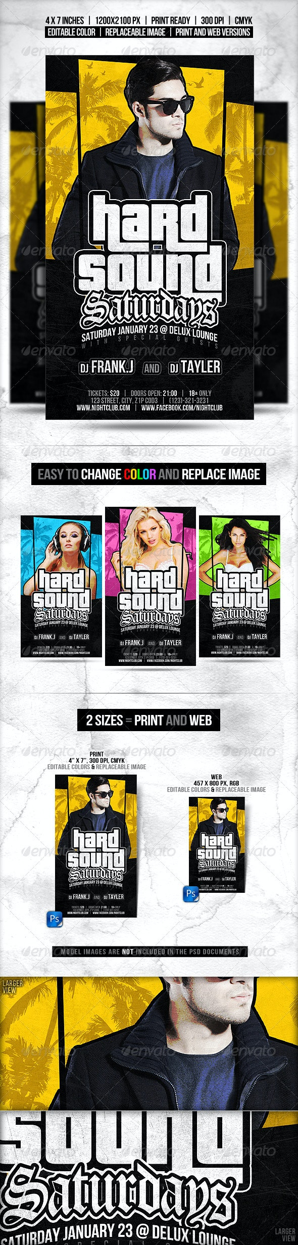 Popular Style Flyer // Editable Colors in 2 Sizes - Clubs & Parties Events