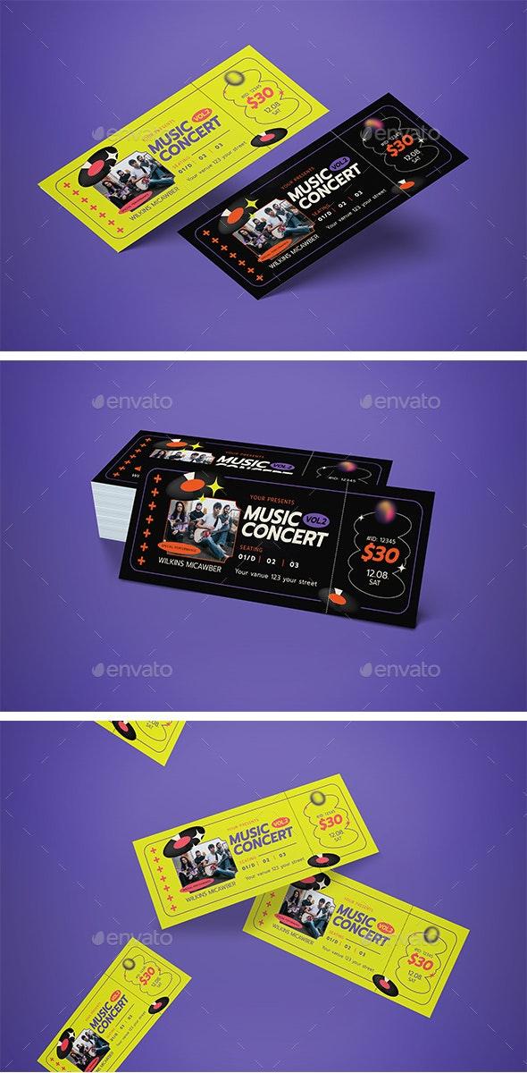 Ticket Event Music - Cards & Invites Print Templates