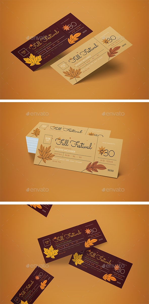 Ticket Fall Music Festival - Cards & Invites Print Templates