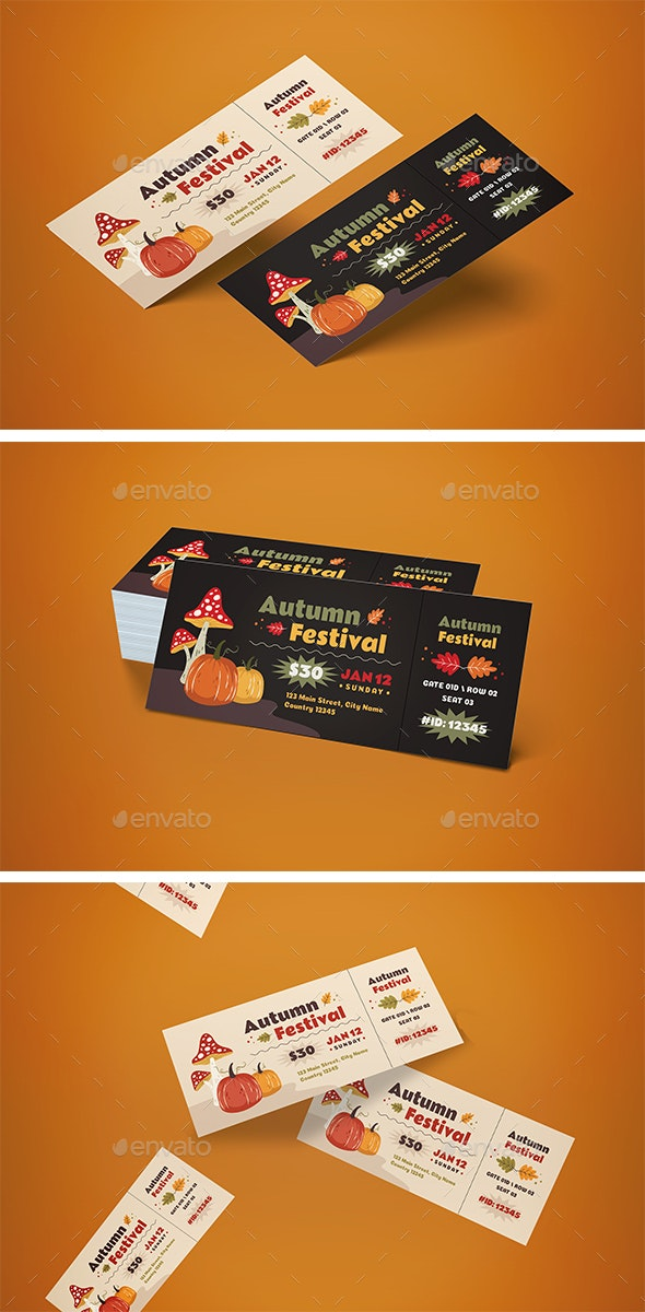 Ticket Autumn Festival - Cards & Invites Print Templates