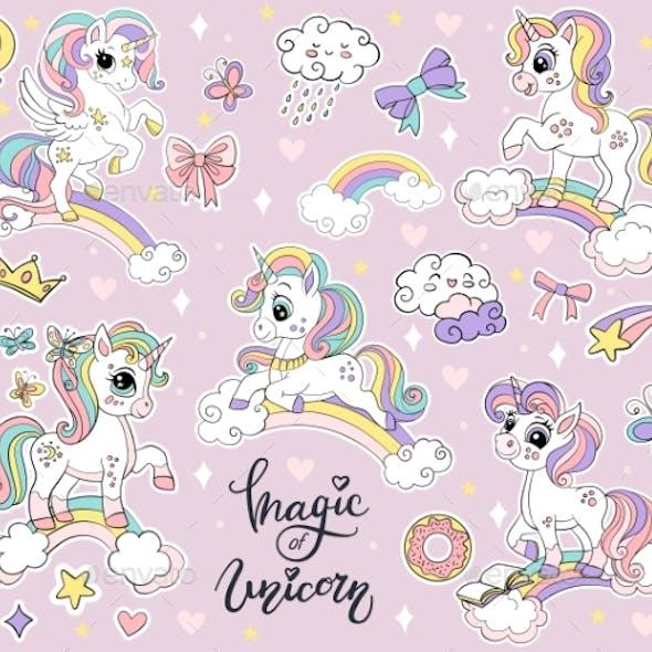 Set of Cute Cartoon Unicorns on a Rainbow Vector