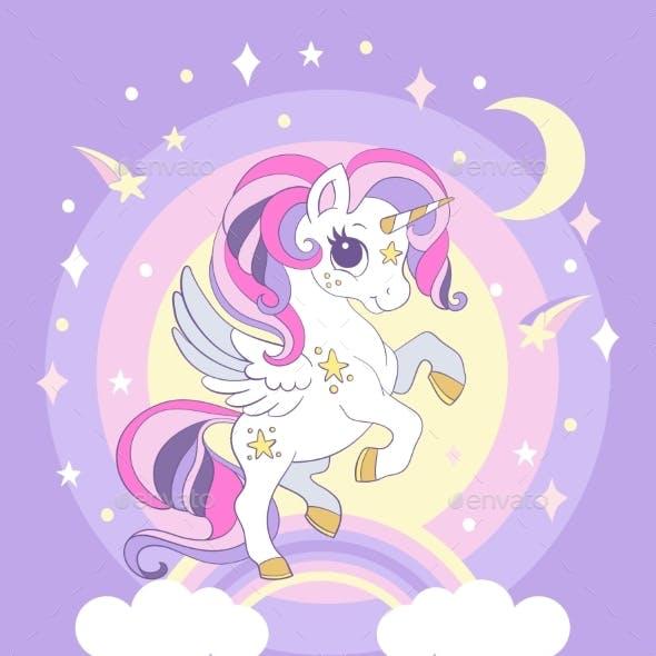 Cute Cartoon Unicorn on a Rainbow Poster Vector